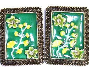 """Two 2 Hole Focal Beads 1 1/2"""" Oriental Enamel Flower Design With Jonquil Swarovski Crystals"""