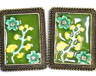"Set Of Two 2 Hole Focal Beads 1 1/2"" Oriental Multi Color Enamel Flowers & Jonquil Austrian Crystal"