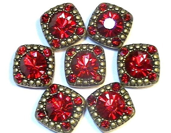 Seven 2 Hole Slider Beads 8mm & 2mm Siam Red Crystals
