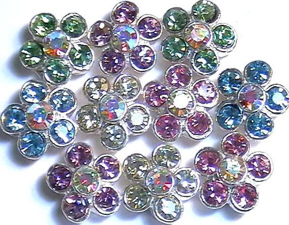 Set Of Ten 2 Hole Slider Beads Aqua Marine Peridot Lt. Rose Jonquil Lt. Amethyst & Rainbow AB Austrian Crystal Flowers