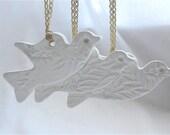 Ceramic Christmas Decoration Keepsake - White Doves