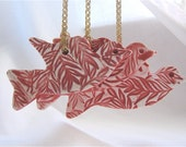 Bird Ornament Ceramic  Keepsake Decoration - Red Birds