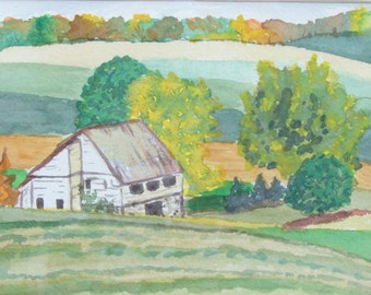 Farm In Autumn Watercolor Painting Framed & Ready to Install