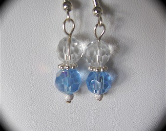 Earrings Blue and Clear Faceted Austrian Crystals & Sterling Silver Dangle Earrings