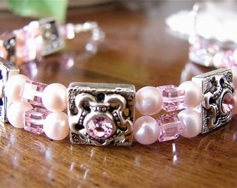Pink Pearls and Swarovski Double Strand Bracelet JBC001