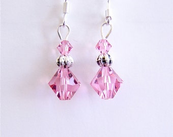 Clearance Sale! Earrings Rose Pink  Swarovski Crystal Dangle