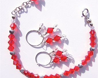 January Birthstone Bracelet & Earring Set with Swarovski Crystals and Sterling Silver