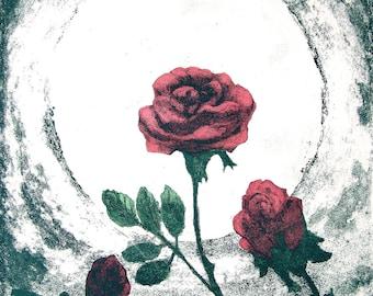 Romantic Roses Moonlight and Roses Original Hand Painted Intaglio Print