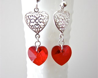 Sterling Silver and Red Heart Dangle Earrings