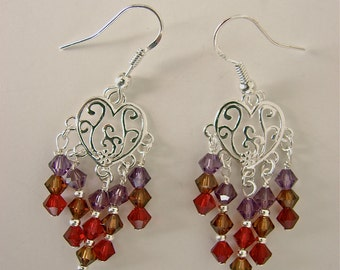 Chandelier Earring With Sterling Silver Hearts and Swarovski Crystal