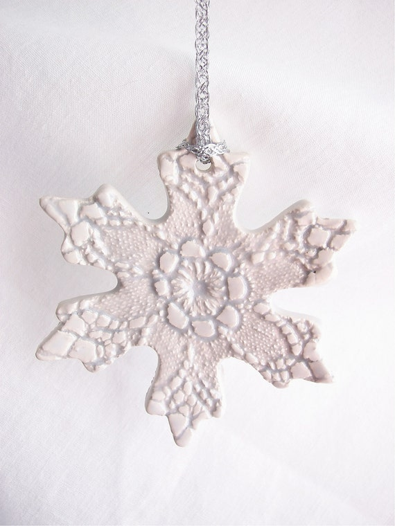 Ceramic Christmas Keepsake Snowflake Ornament - Flower Center