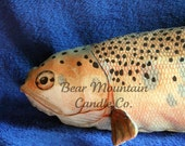 Trout Pillow, novelty cotton stuffed fish pillow