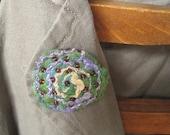 Pin brooch - green blue mauve spiral, silk felt
