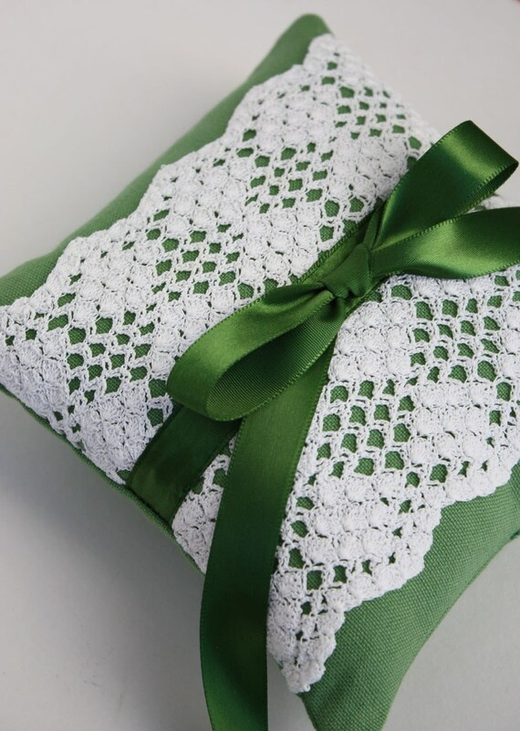 Wedding Ring Pillow Vintage Crocheted Lace With Emerald Green