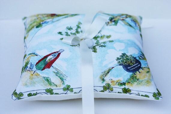 Wedding Ring Bearer Pillow Vintage Irish Handkerchief