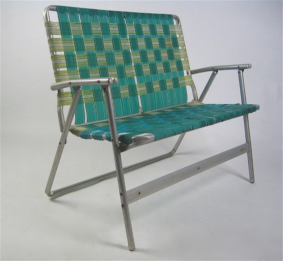Rare double wide folding aluminum frame patio lounge chair, free shipping in USA