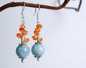 Blue and orange earrings