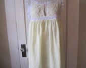 Vintage Night Gown Christian Dior Yellow with White Floral Lace