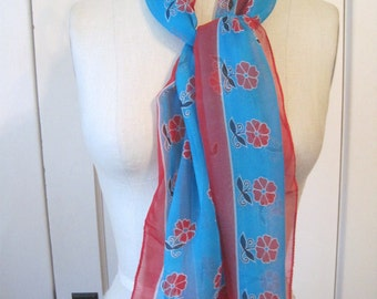 Vintage Scarf Turquoise Blue and Red Flowers and Border Nylon Rectangle Head Scarf