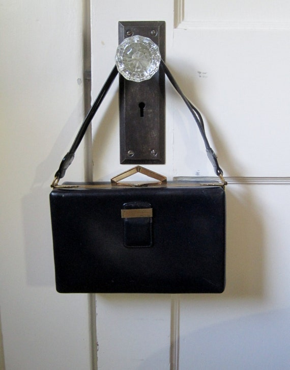 Vintage Handbag Navy Art Deco Style Structured  Top Handle 1960's Box Purse