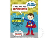 Lil' Superman - Superhero Digital Birthday Party Invitation - Printable Birthday party invite
