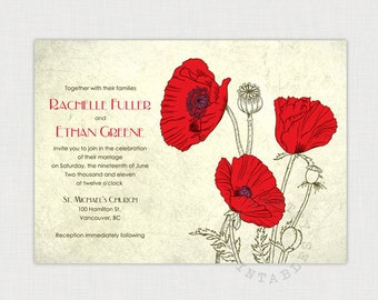 Vintage Poppies - Rustic wedding Invitation I Wedding Invitation template I Printable wedding invitation