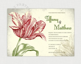 Tulip Vintage Invitation - You-Print Digital Wedding Invitation