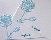 Personalized Letterpress Stationery Poppy Sky Blue