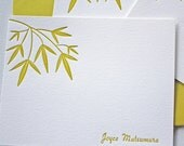 Personalized Letterpress Stationery Bamboo Leaves Golden Green Custom Cards
