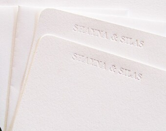 Personalized Name Blind Debossed Letterpress Stationery