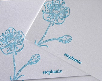Personalized Letterpress Stationery Poppy Sky Blue