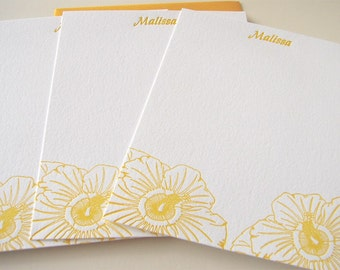 Personalized Letterpress Stationery Sunny Hibiscus