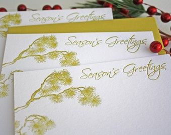 Letterpress Holiday Card Set Pine Branches Golden Green