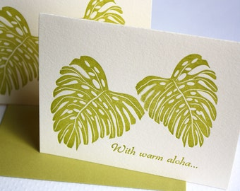 Letterpress Cards Hawaii Leaves Monstera Warm Aloha Golden Green