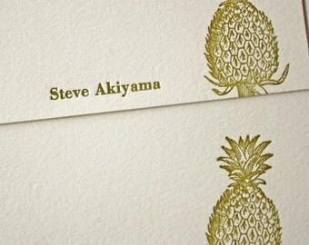 Personalized Letterpress Stationery Hawaiian Pineapple