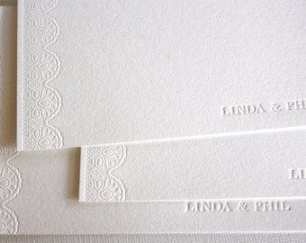 Personalized Lace Letterpress Stationery White Pearl Ecru
