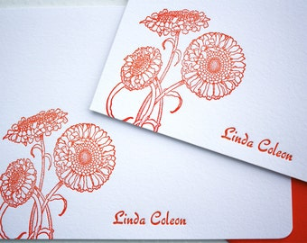 Personalized Letterpress Stationery Marigolds Tangerine Tango