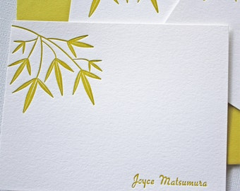 Bamboo Leaves Personalized Letterpress Stationery Golden Green Custom Cards
