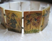 Vintage MOP Bracelet - Hand Painted - Mother of Pearl - Link Bracelet - Miniature Painting - Ethnic Jewelry
