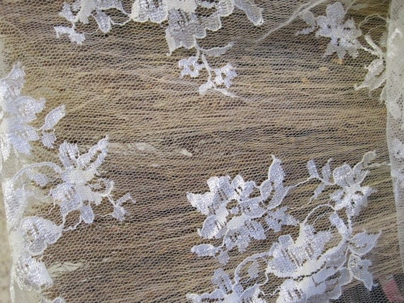 20% OFF on this item- Bridal Ivory Fine Lace Fabric with Ivory Floral Sprays (remnant- unused)