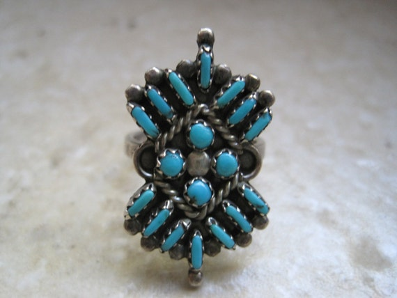 Vintage Zuni Ring - Turquoise and Sterling Silver - Needle Work Ring - Size 5 3/4