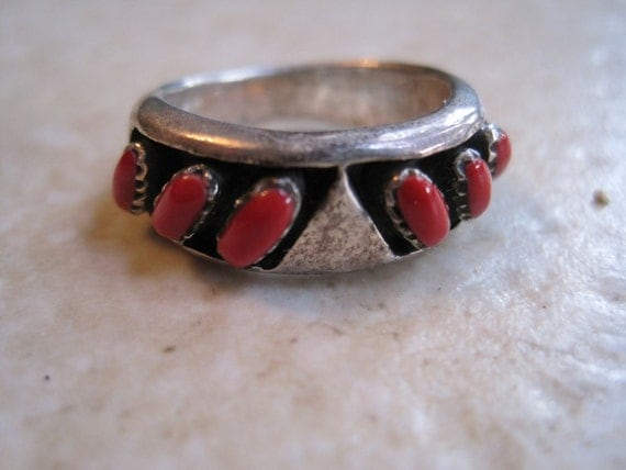 Vintage Sterling and Coral Ring - Middle Eastern Ring - Size 8