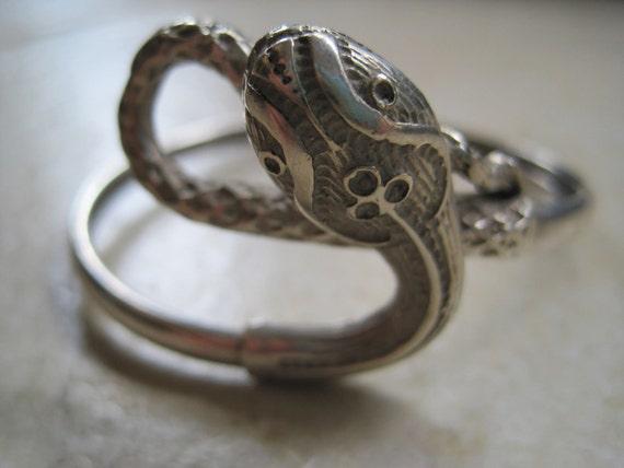 Vintage Snake Bracelet - Victorian or Art Deco - Sterling Silver Bangle - 1920s - Serpent Jewelry - Snake Jewellery