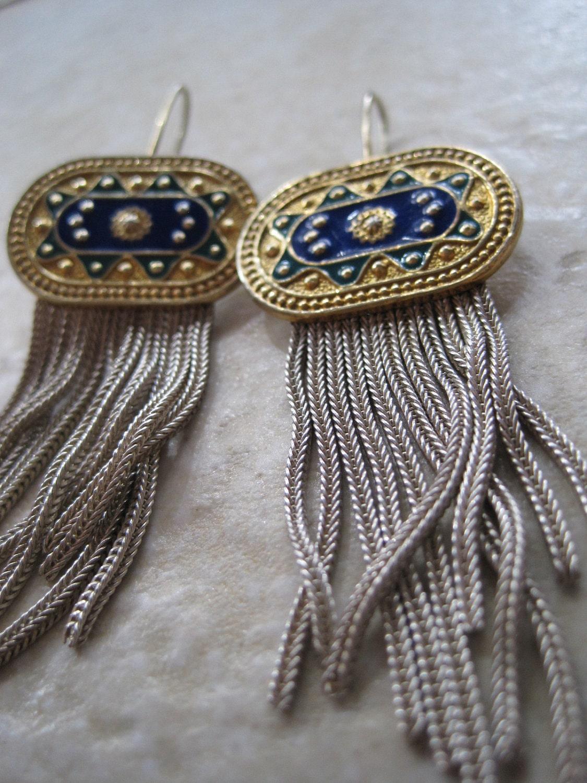 Vintage Enamel Earrings Turkish Mesh Jewelry Gold By Anteeka