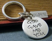god gave me you key chain mens anniversary gift wedding date sterling silver key ring