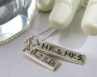 mr and mrs. wedding, anniversary, relationship date sterling silver handstamped necklace 2