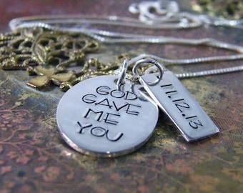 engagement gift necklace, wedding date sterling silver handstamped heirloom keepsake necklace god gave me you oval