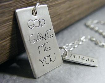 mens god gave me you necklace wedding date sterling silver heirloom keepsake mens
