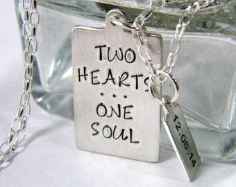 relationship, engagement, wedding date sterling silver handstamped heirloom keepsake necklace two hearts one soul