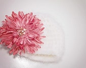 Baby Girl Hat - Baby Hat with Removable Flower Clip/Pin - Soft White - by JoJosBootique